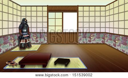 Traditional Japanese Room Interior. Digital Painting Background Illustration in cartoon style character.
