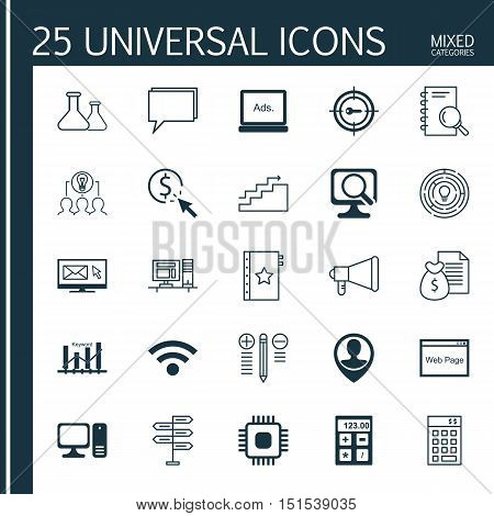 Set Of 25 Universal Icons On Ppc, Opportunity, Employee Location And More Topics. Vector Icon Set In