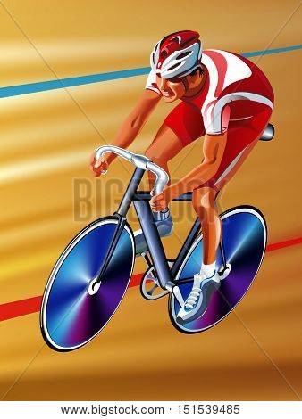 Vector red cyclist on a race bike