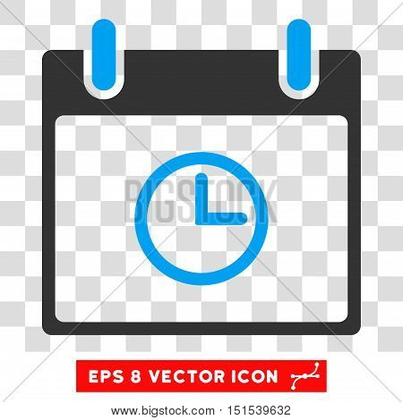 Vector Time Calendar Day EPS vector icon. Illustration style is flat iconic bicolor blue and gray symbol on a transparent background.
