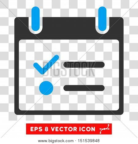 Vector Todo List Calendar Day EPS vector icon. Illustration style is flat iconic bicolor blue and gray symbol on a transparent background.