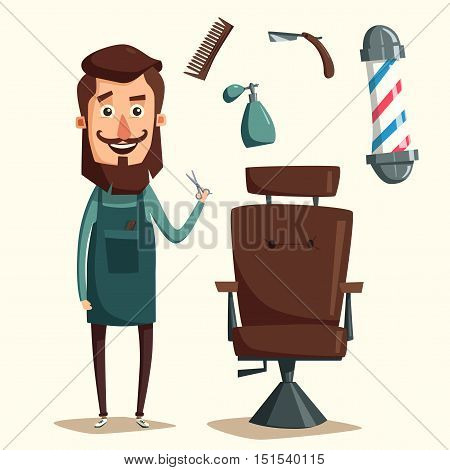 Cute barber character. Barber shop. Cartoon vector illustration. Lounge chair. Scissors in hand. Vintage hairstyle. Set of tools