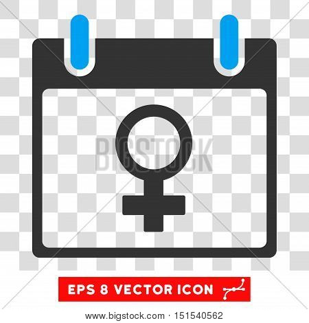 Vector Venus Female Symbol Calendar Day EPS vector pictogram. Illustration style is flat iconic bicolor blue and gray symbol on a transparent background.
