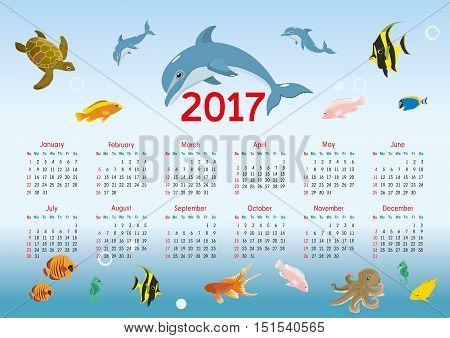horizontal calendar for 2017. nautical theme. vector