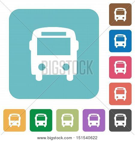 Flat bus icons on rounded square color backgrounds.
