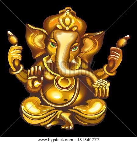 Collection of mascots: golden Ganesha. Vector objects talismans Feng Shui on a black background.