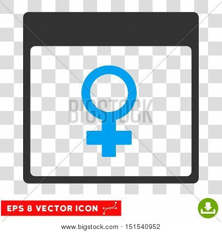 Vector Venus Female Symbol Calendar Page EPS vector icon. Illustration style is flat iconic bicolor blue and gray symbol on a transparent background.