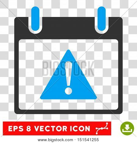 Vector Warning Calendar Day EPS vector pictogram. Illustration style is flat iconic bicolor blue and gray symbol on a transparent background.