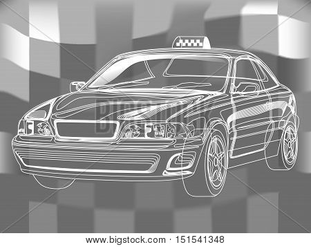Hand-drown taxi car sketch, vector scheme illustration