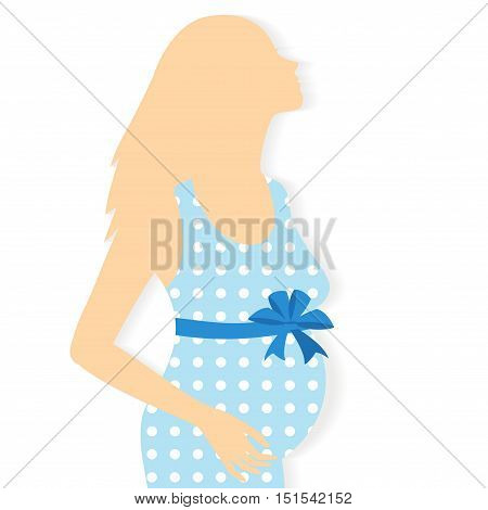 Vector silhouette of pregnant woman on a white background