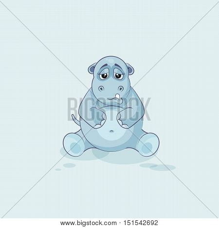 Vector Stock Illustration isolated Emoji character cartoon Hippopotamus sad and frustrated sticker emoticon for site, info graphics, video, animation, websites, e-mails, newsletters, reports, comics