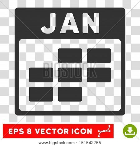 Vector January Calendar Grid EPS vector pictogram. Illustration style is flat iconic gray symbol on a transparent background.