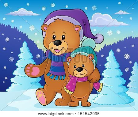 Stylized winter bears theme 2 - eps10 vector illustration.