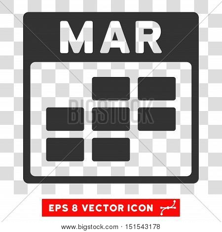 Vector March Calendar Grid EPS vector pictograph. Illustration style is flat iconic gray symbol on a transparent background.
