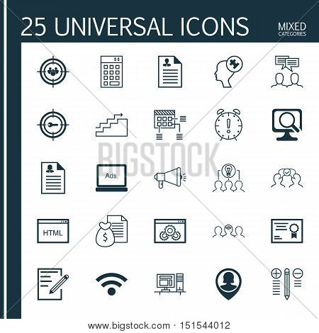 Set Of 25 Universal Icons On Keyword Marketing, Certificate, Wireless And More Topics. Vector Icon S