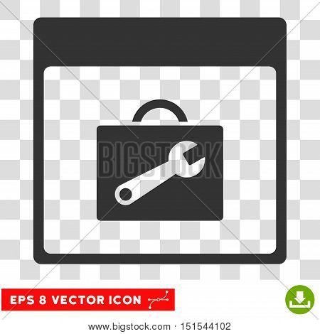 Vector Toolbox Calendar Page EPS vector pictograph. Illustration style is flat iconic gray symbol on a transparent background.