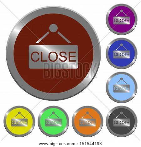 Set of color glossy coin-like close sign buttons