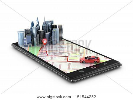 Mobile GPS navigation travel and tourism concept. View a map on the mobile phone on car and search GPS coordinates. 3d illustration