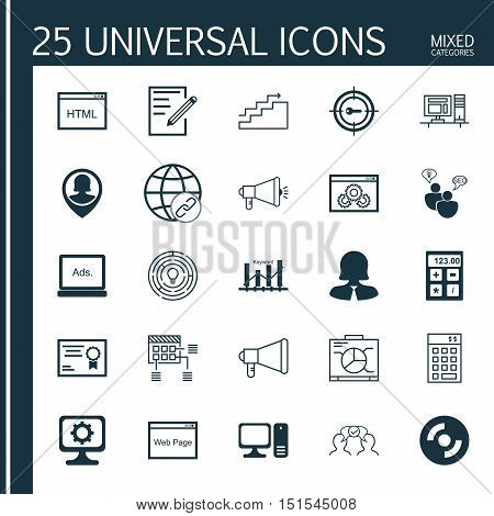 Set Of 25 Universal Icons On Media Campaign, Digital Media, Investment And More Topics. Vector Icon