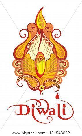 Elegant Oil Diwali Lamp .  Diwali card