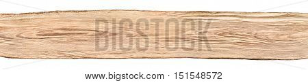 Rustic background banner: a nice long untreated wood board from a beech tree isolated on white