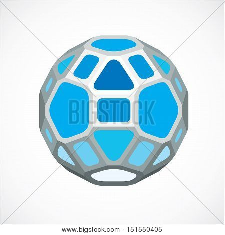 Blue Dimensional Vector Low Poly Object, Ball. Technology 3D Spherical Element Made With Rectangular