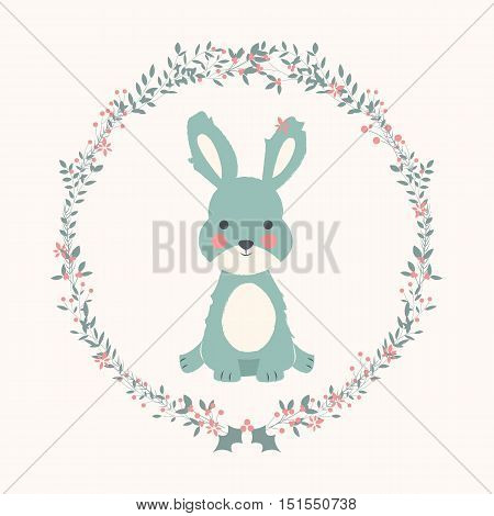 Cute baby bunny rabbit in Christmas flower and branch wreath vector illustration