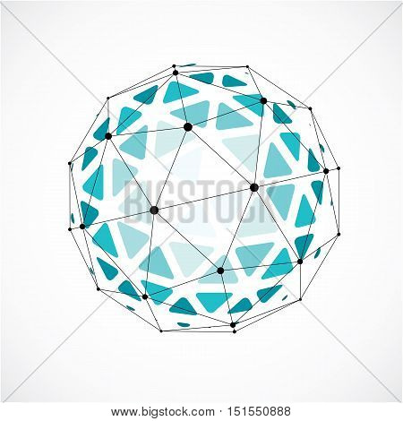 Abstract Vector Low Poly Object With Black Lines And Dots Connected. Green 3D Origami Futuristic For