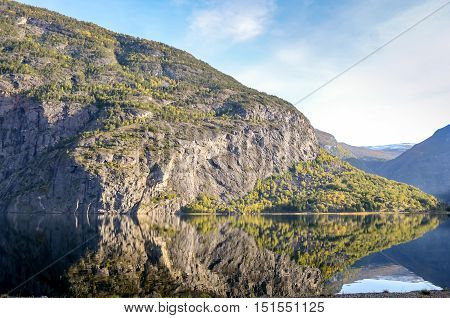 perfect reflection of mountains in clear fjord landscape