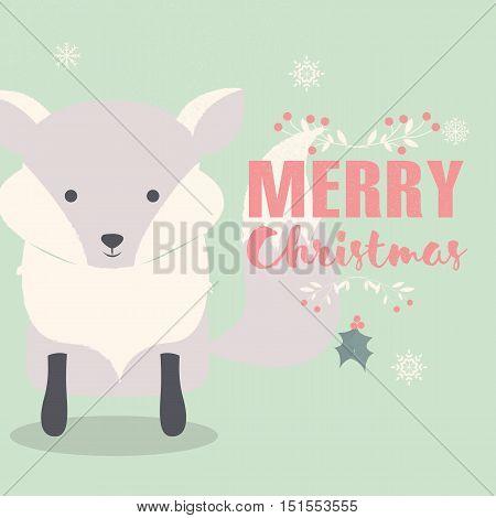 Merry Christmas lettering postcard with cute polar baby fox vector illustration