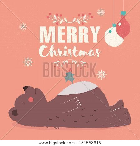 Merry Christmas lettering postcard with cute brown bear laying down vector illustration