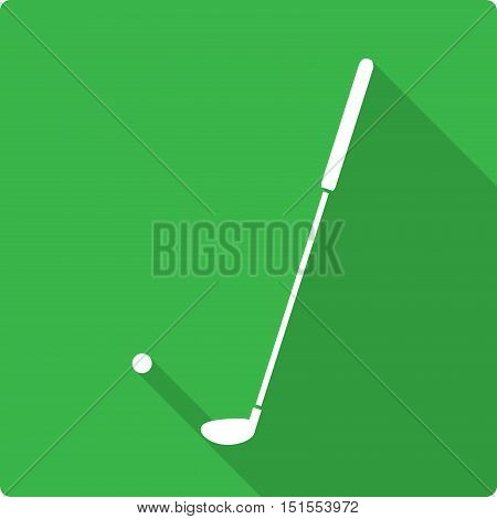 Golf Flat Icon, a flat icon vector illustration of a golf ball and a golf stick.
