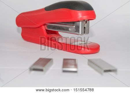 Stapler and ammo isolated on white background