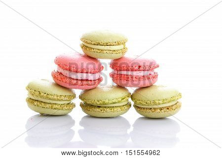 Sweet and colourful french macaroons or macaron on white background Dessert.
