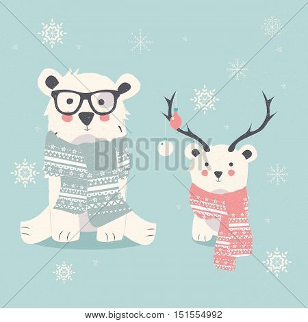Merry Christmas postcard with two polar bears hipster and cub vector illustration