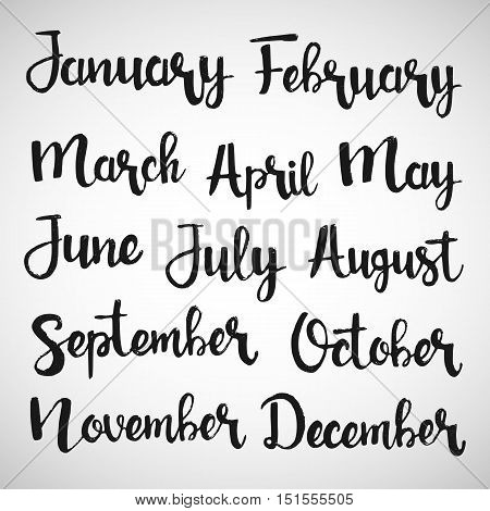 Months of the year handwritten lettering set. January February March April May June July August September October November December. Modern vector calligraphy for your calendar design
