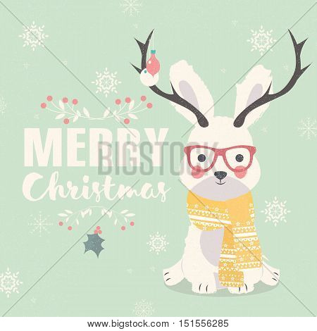 Merry Christmas postcard hipster polar rabbit wearing glasses and antlers vector illustration
