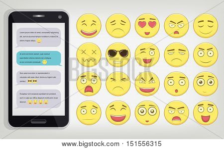 Emoticon set with Phone. Emoticon for web site, chat, sms. Modern flat design. Vector illustration