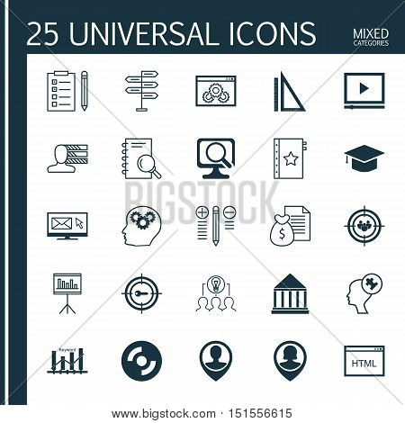 Set Of 25 Universal Icons On Brain Process, Opportunity, Website Performance And More Topics. Vector