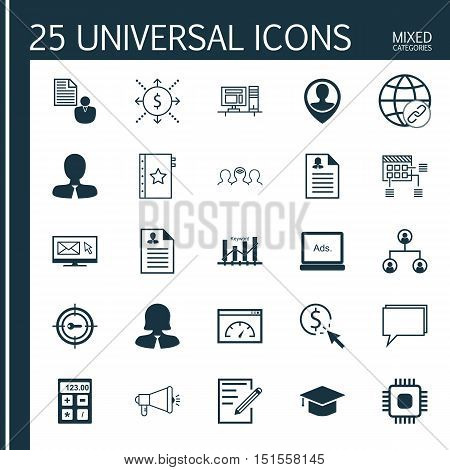 Set Of 25 Universal Icons On Computer, Media Campaign, Graduation And More Topics. Vector Icon Set I