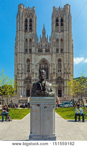Brussels, Belgium - April 5, 2008: Bronze Monument Of Baudouin King In Front Of The Cathedral St. Gu