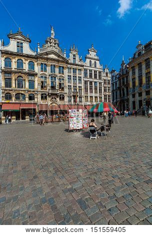 Brussels, Belgium - April 5, 2008:  Street Vendors Sell Paintings On Grand Place