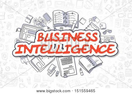 Business Intelligence - Sketch Business Illustration. Red Hand Drawn Text Business Intelligence Surrounded by Stationery. Doodle Design Elements.