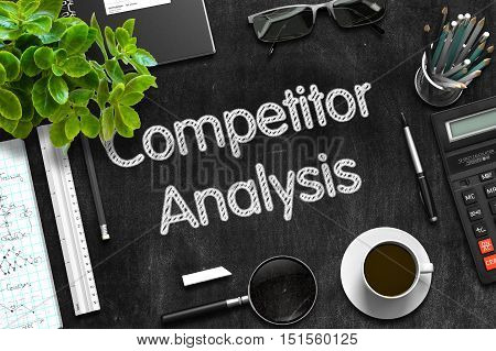 Competitor Analysis Concept on Black Chalkboard. 3d Rendering.