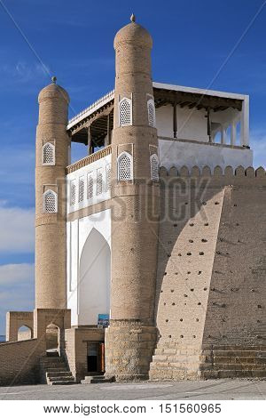 Gate of Ark fortress gate in Bukhara, Uzbekistan