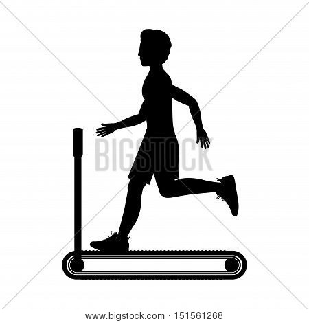 silhouette with man in treadmill vector illustration