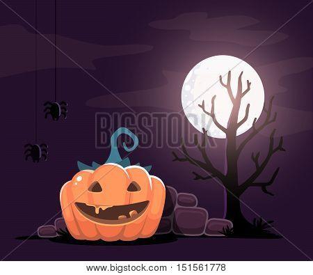 Vector Halloween Illustration Of Decorative Orange Pumpkin With Eyes, Smile, Teeth, Spiders, Tree, M