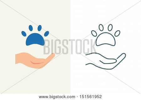 Donations for pets and animals vector illustration, handheld pawprint flat and line style