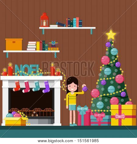 Happy girl decorating the Christmas tree near a fireplace at home. Color flat vector illustration.