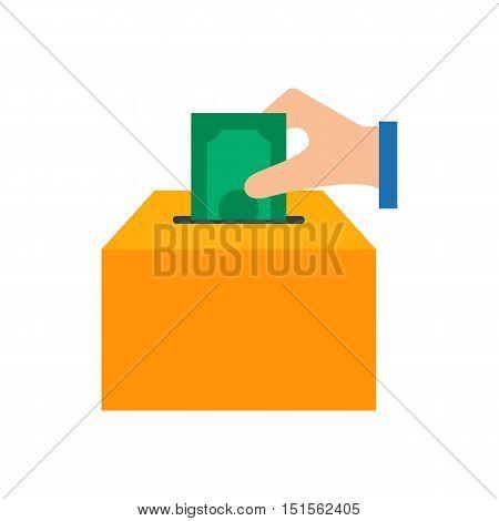 Donations icon vector illustration, box for money